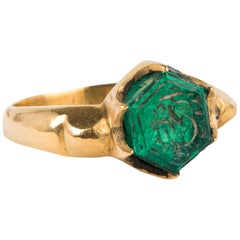 Antique Mughal Emerald Hexagon Inscribed Ring 22 Karat Gold