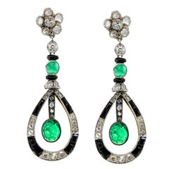 Antique Emerald Onyx and Old Cut Diamonds Earrings