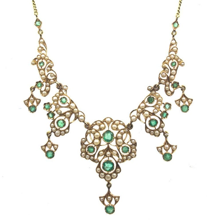 Antique Emerald Pearl 14 Karat Yellow Gold Choker Necklace
