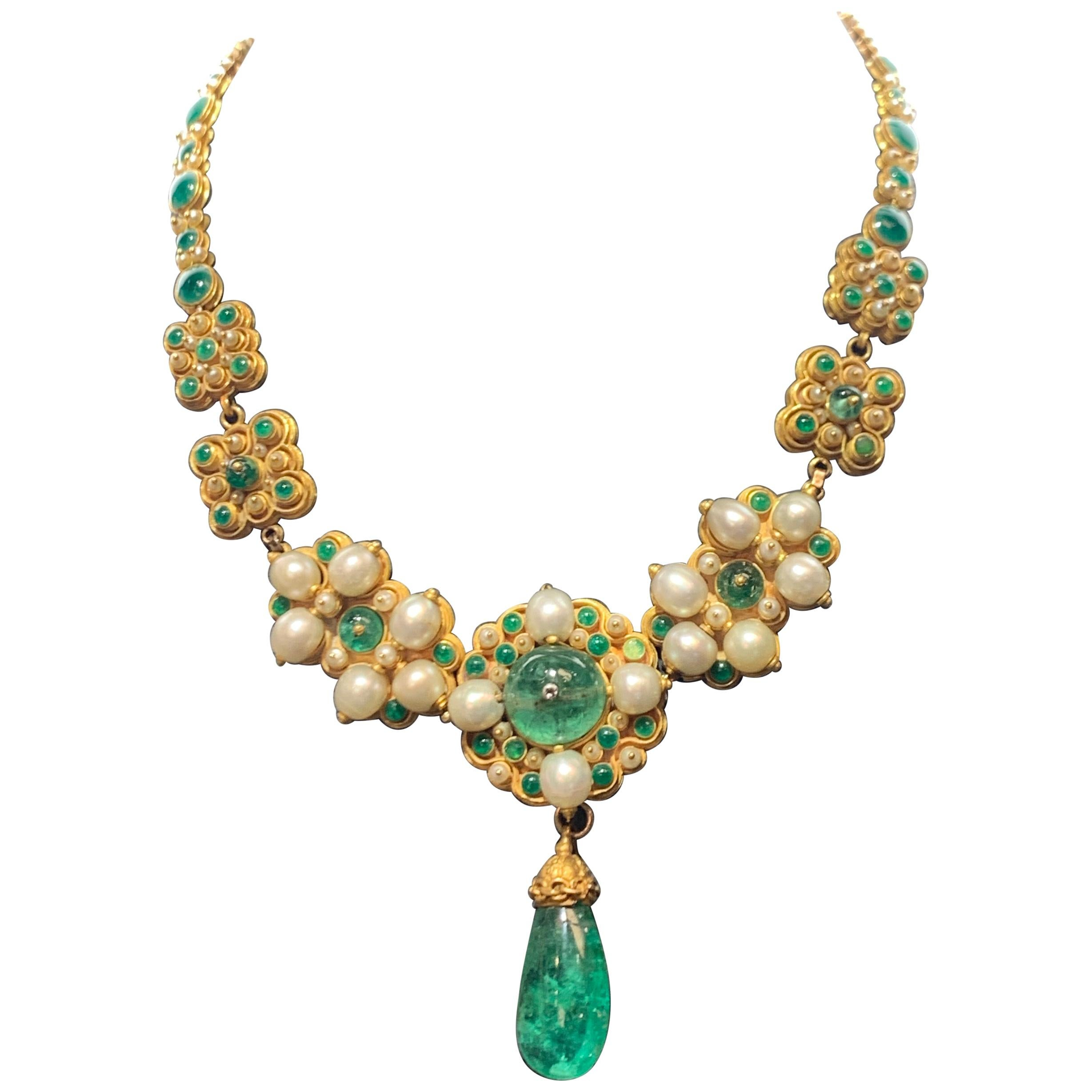 Antique Emerald Pearl and Enamel Necklace