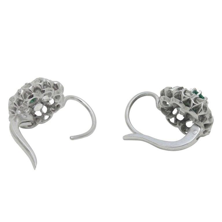 Victorian Antique Emerald & Rose Cut Diamond Cluster Earrings For Sale