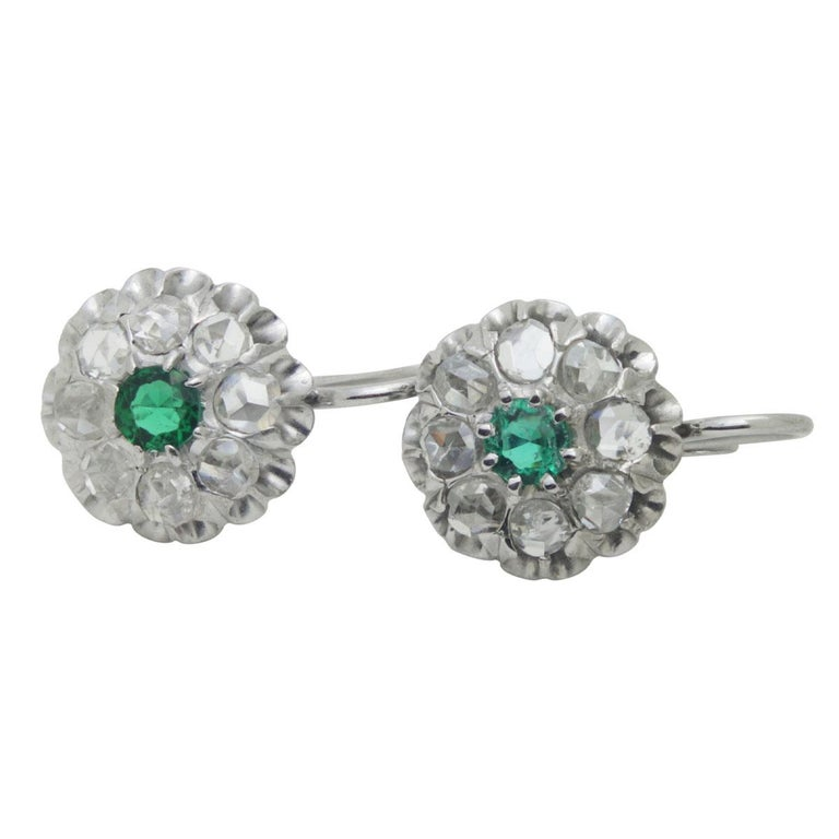 Antique Emerald & Rose Cut Diamond Cluster Earrings In Good Condition For Sale In QLD , AU