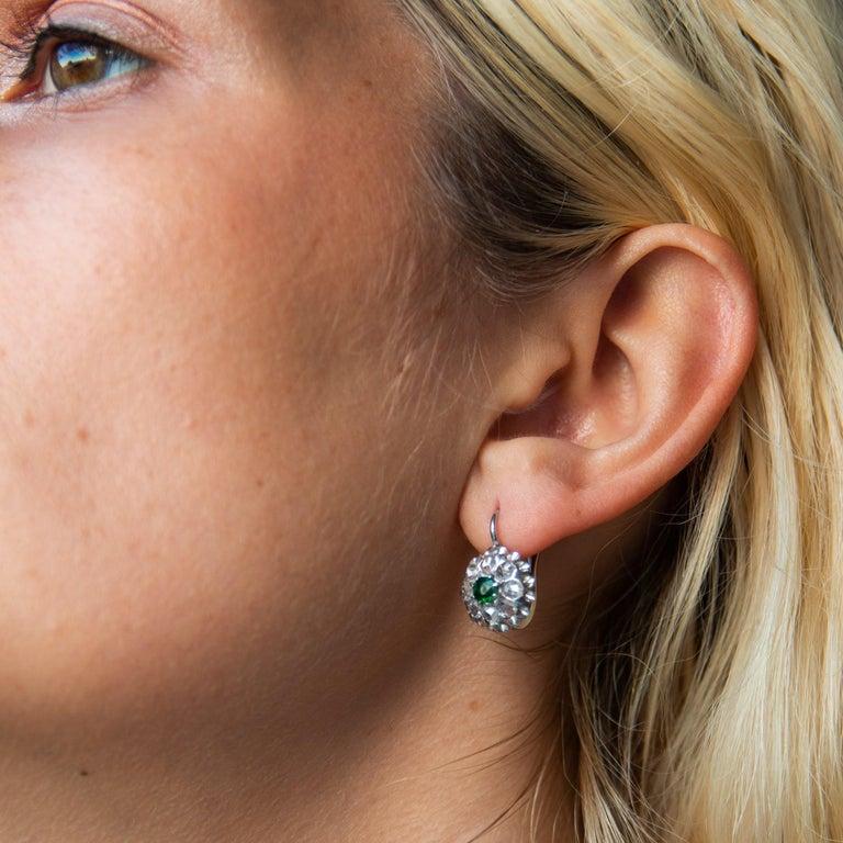 Women's Antique Emerald & Rose Cut Diamond Cluster Earrings For Sale