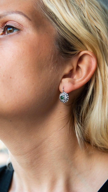 Antique Emerald & Rose Cut Diamond Cluster Earrings For Sale 1