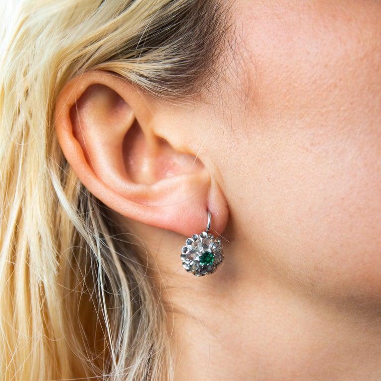 Antique Emerald & Rose Cut Diamond Cluster Earrings For Sale 2