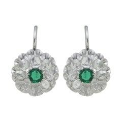 Antique Emerald & Rose Cut Diamond Cluster Earrings