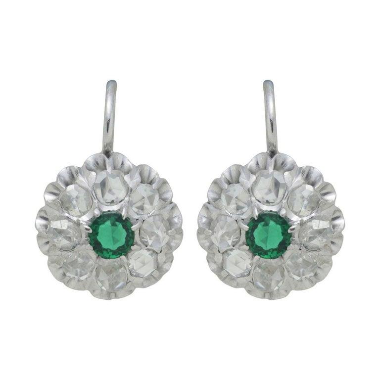 Antique Emerald & Rose Cut Diamond Cluster Earrings For Sale