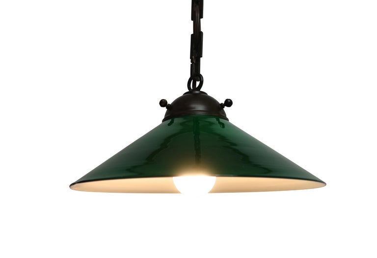 Antique Emeralite Green Encased Glass Pendant Hanging Light Fixture In Good Condition For Sale In San Francisco, CA