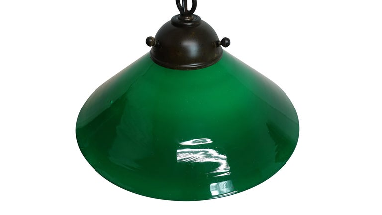 Antique Emeralite Green Encased Glass Pendant Hanging Light Fixture For Sale 2