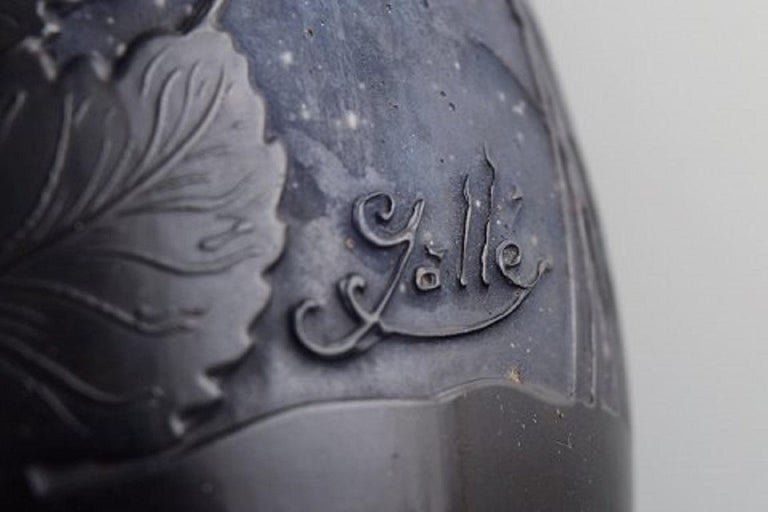 Antique Emile Gallé Vase in Light Frosted and Blue Art Glass, Early 20th Century For Sale 3