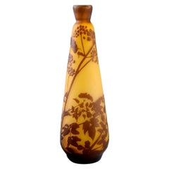 Antique Emile Gallé Vase in Yellow and Brown Art Glass, Early 20th C.