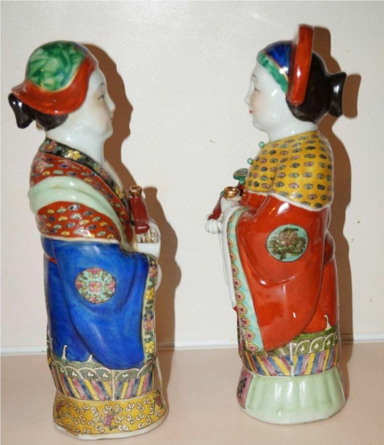 Pair Antique Emperor & Empress Figure Figurine Statue Hand Painted Qing Dynasty For Sale 3