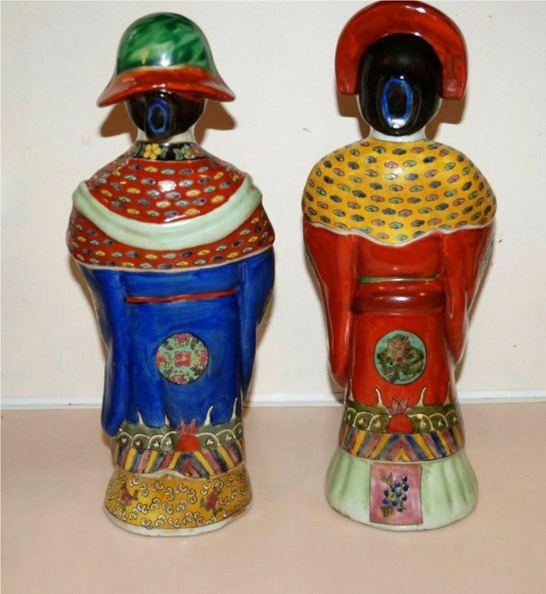 Pair Antique Emperor & Empress Figure Figurine Statue Hand Painted Qing Dynasty For Sale 4