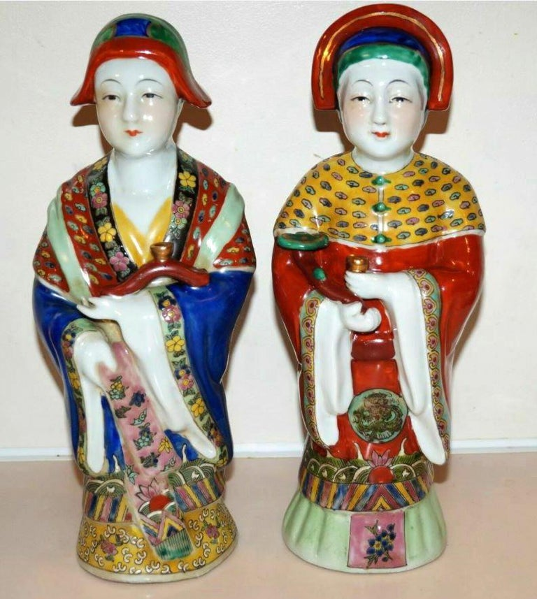 Sold as a Pair. Antique emperor and empress figure figurine statue hand \painted 12.5