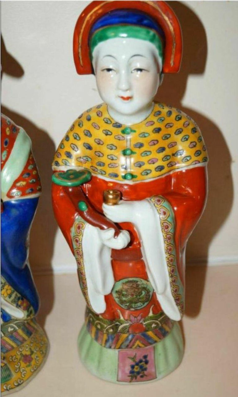 Chinese Export Pair Antique Emperor & Empress Figure Figurine Statue Hand Painted Qing Dynasty For Sale