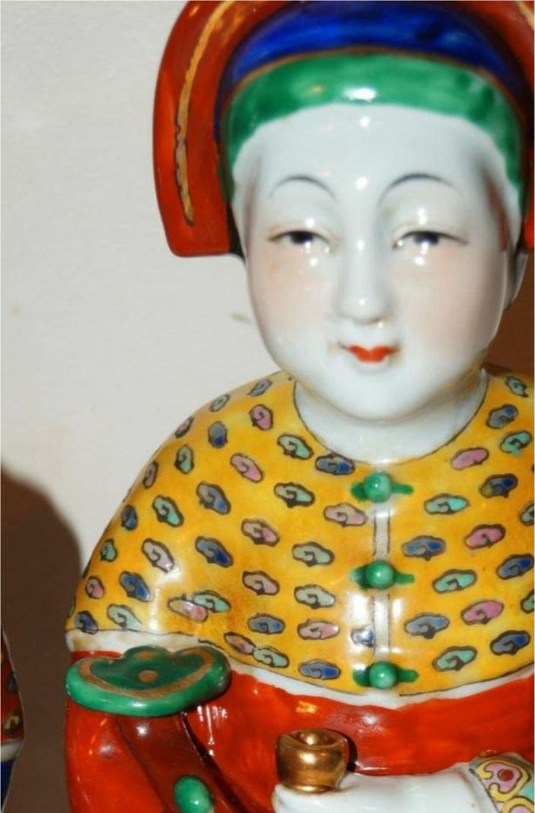 Other Pair Antique Emperor & Empress Figure Figurine Statue Hand Painted Qing Dynasty For Sale