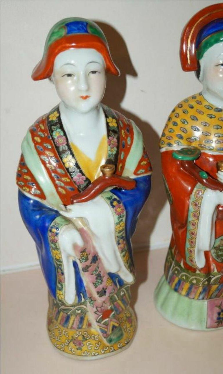 Early 20th Century Pair Antique Emperor & Empress Figure Figurine Statue Hand Painted Qing Dynasty For Sale