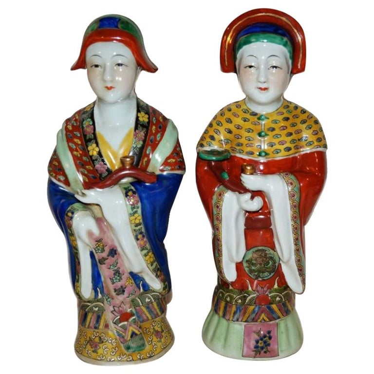 Pair Antique Emperor & Empress Figure Figurine Statue Hand Painted Qing Dynasty For Sale