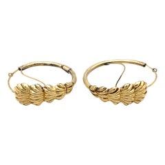 Antique Empire 14 Karat Gold Hoops Scallop Ornaments