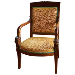 Antique Empire Chair from 1820 with Lorca Fabric