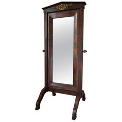 Antique Empire French Mahogany Cheval Mirror, 19th Century
