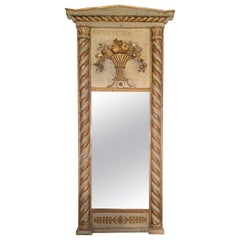 Antique Empire Gilt Carved Painted Beech Wood Swedish Trumeau Wall Mirror