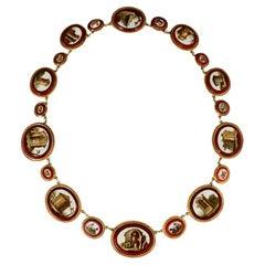 Antique Empire Grand Tour 18 Karat Gold Micro Mosaic Necklace, 1810