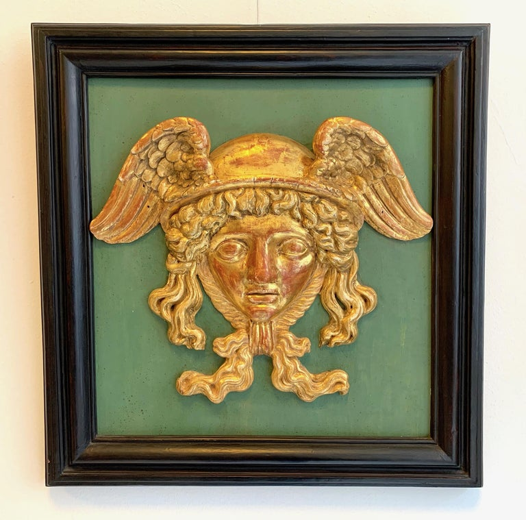 Antique Empire Head of Hermes Carved Wood Messenger of Zeus God of Merchants In Good Condition For Sale In Munich, DE