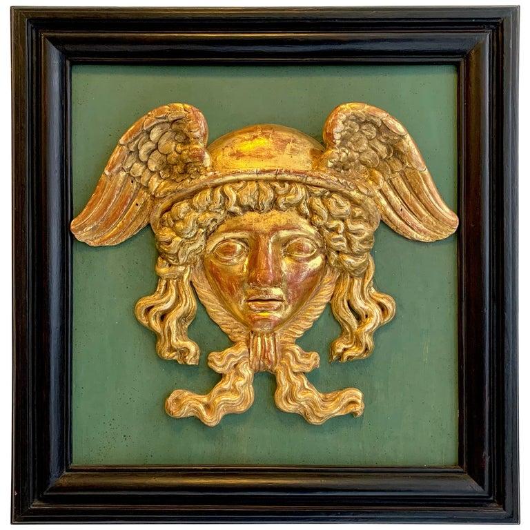 Antique Empire Head of Hermes Carved Wood Messenger of Zeus God of Merchants For Sale