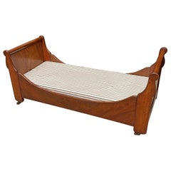 Antique Empire Mahogany Sleigh Bed, Cabinet Makers Example, as Dog Bed