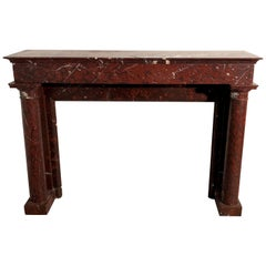 Antique Empire Marble Fireplace Mantel Red Griotte France