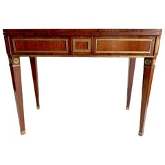 Antique Empire Russia St. Petersburg Mahogany Games Console Table Brass Banding
