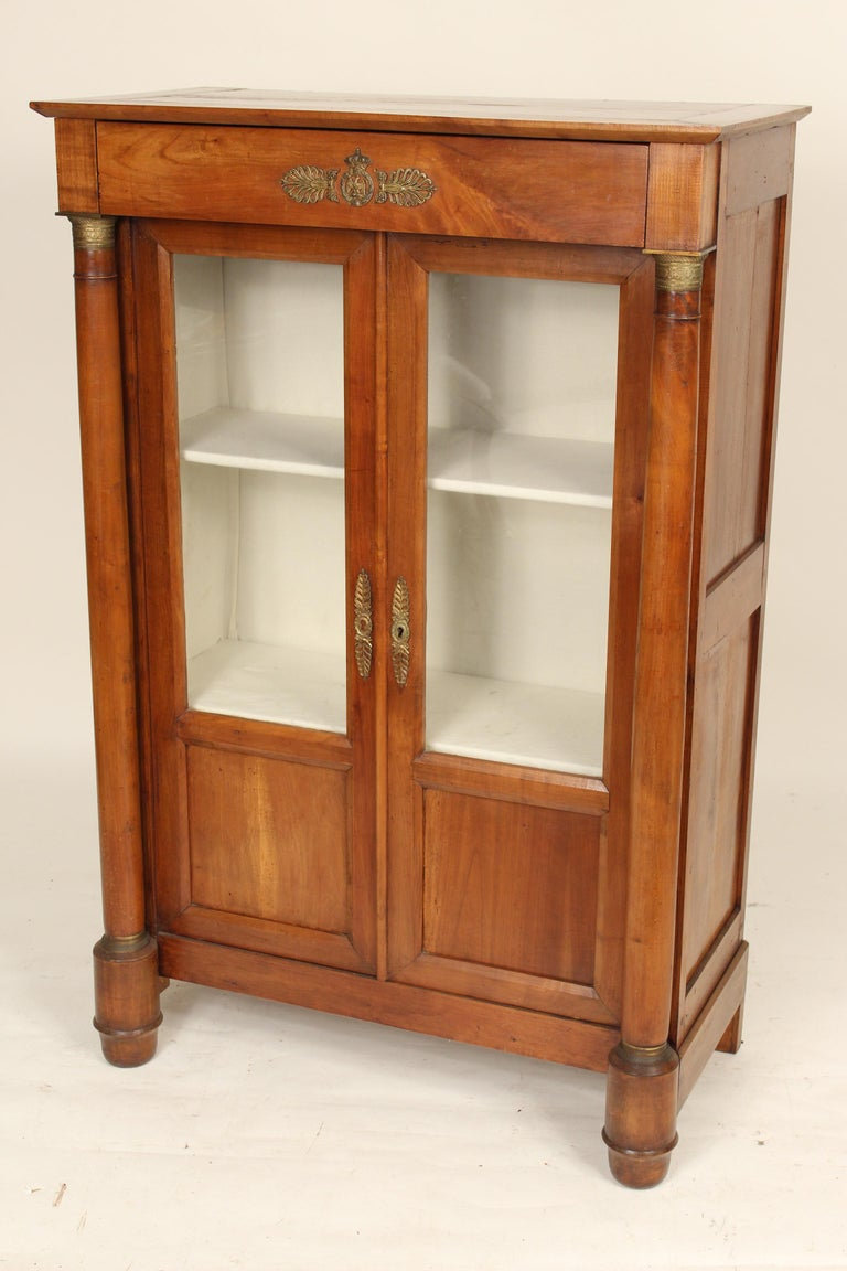 European Antique Empire Style Bookcase/ Display Cabinet For Sale