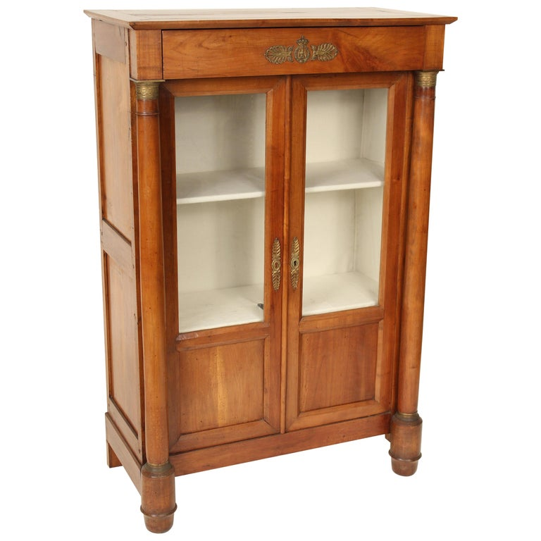 Antique Empire Style Bookcase/ Display Cabinet For Sale
