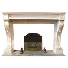 Antique Empire Style Fireplace, White Carrara Marble, Lion Paws, 1800 France