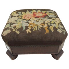 Antique Empire Style Tapestry Footstool