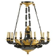 Antique Empire Style Twelve-Light Gilt Bronze Chandelier