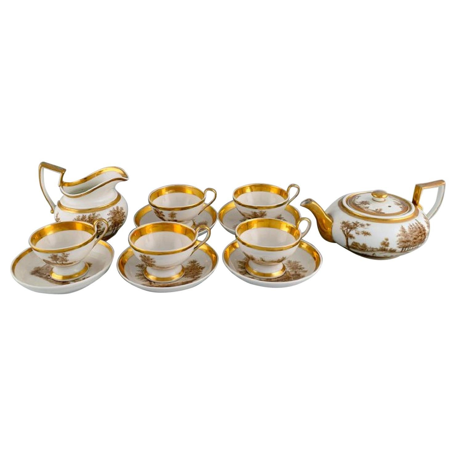 Antique Empire tea service for five people in porcelain. Dated 1831