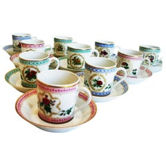 Antique Empress Josephine Demitasse Collection from Haviland, Set of 10