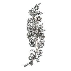 Antique En Tremblant Diamond Set Silver over Gold Brooch