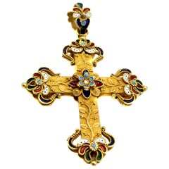 Antique Enamel 18 Karat Gold Cross Pendant