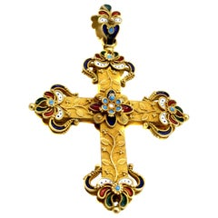 Antique Enamel 18 Karat Gold Cross Pendant