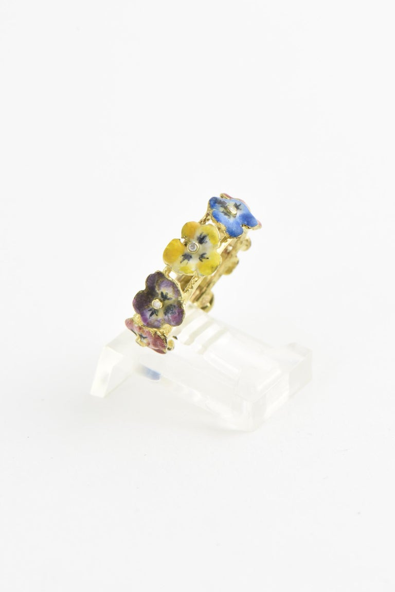 Victorian Antique Enamel and Diamond Yellow Gold Pansy Band Ring For Sale
