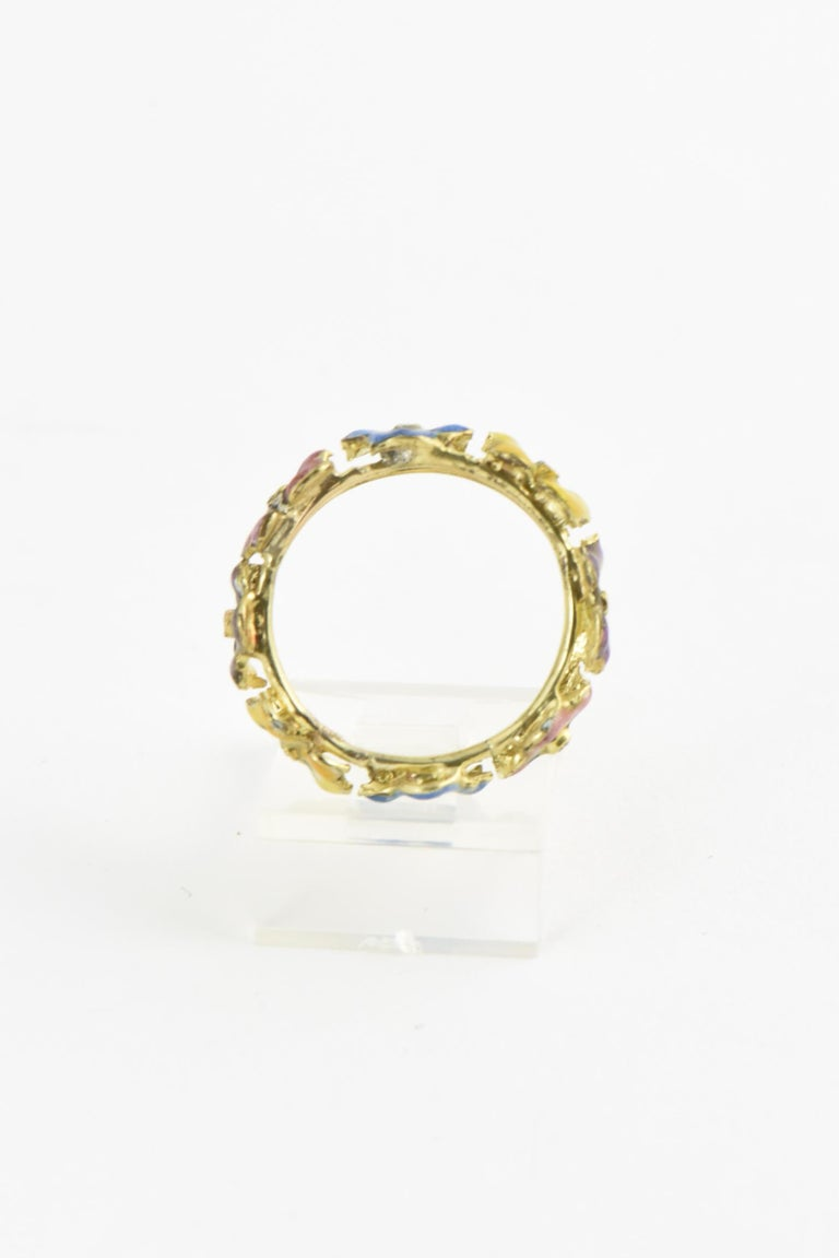 Round Cut Antique Enamel and Diamond Yellow Gold Pansy Band Ring For Sale