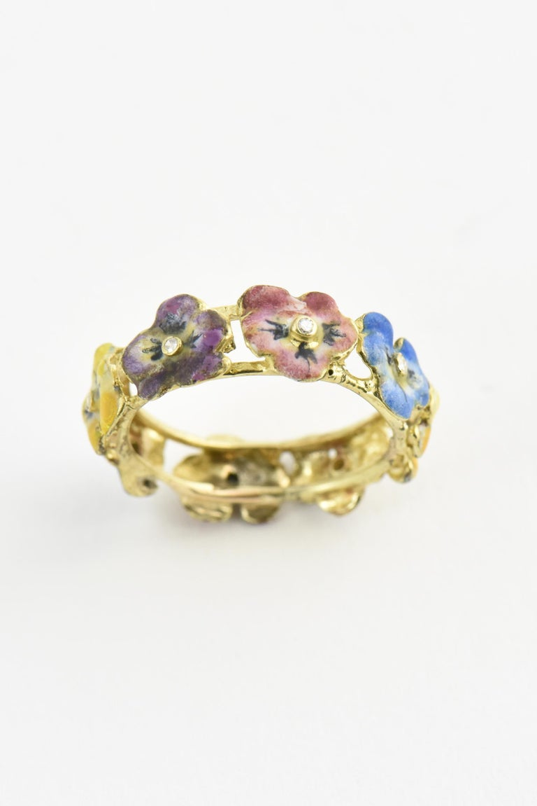 Women's Antique Enamel and Diamond Yellow Gold Pansy Band Ring For Sale