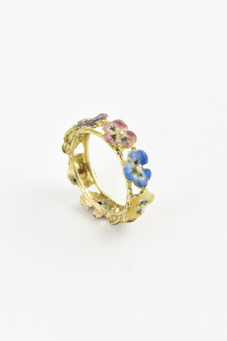 Antique Enamel and Diamond Yellow Gold Pansy Band Ring For Sale 1
