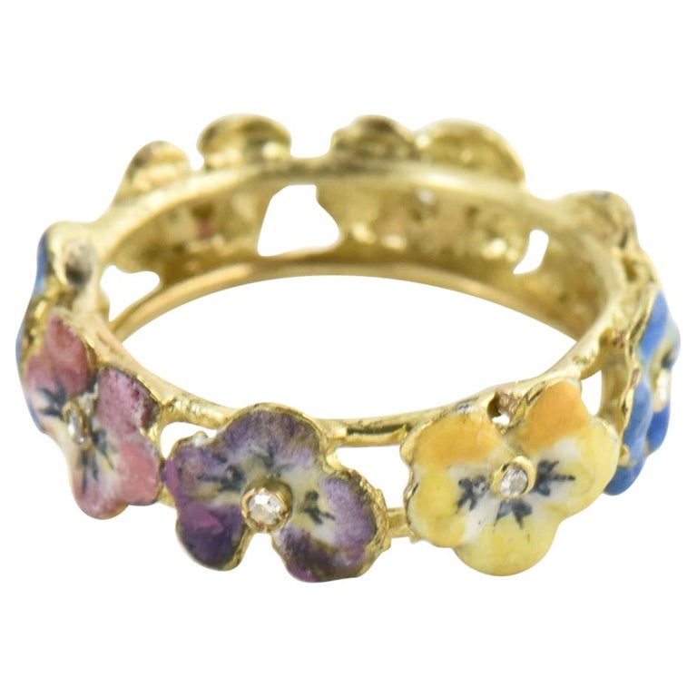 Antique Enamel and Diamond Yellow Gold Pansy Band Ring For Sale