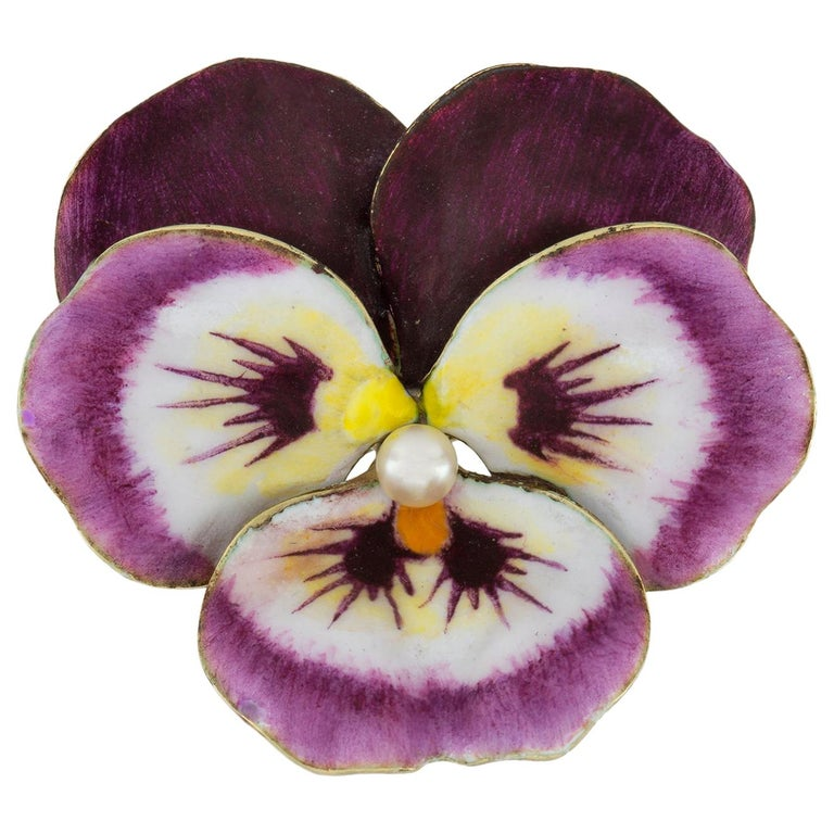 Antique Enamel and Pearl Pansy Brooch For Sale