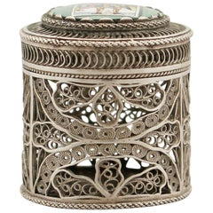 Antique Enamel and Silver Filigree Box, circa 1820