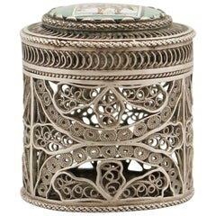 Antique Enamel and Silver Filigree Box